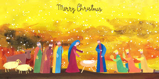 手拉的圣诞节例证 库存图片