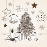 手拉的圣诞节场面 免版税图库摄影