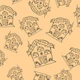 手拉的圣诞节房子无缝的样式 逗人喜爱的房子背景 被刻记的样式例证 向量例证