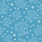 手拉的圣诞节房子无缝的样式 逗人喜爱的房子背景 被刻记的样式例证 库存例证