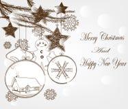 手拉的圣诞节明信片 图库摄影