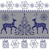 手拉的圣诞节魔术鹿 装饰圣诞树,礼物 免版税库存图片