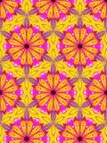 手拉的在一个重复的样式的金黄色和桃红色雏菊 库存例证