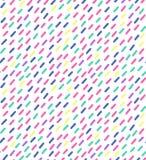 手拉的在减速火箭的孟菲斯样式的传染媒介无缝的样式 80s迪斯科在明亮的颜色的样式装饰品织品的,包装纸, 免版税库存照片