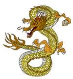 手拉的在白色背景的金龙日本纹身花刺样式 皇族释放例证