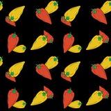 手拉的在黑背景的响铃红色和黄色胡椒无缝的样式 库存例证
