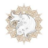 手拉的在mehendi坛场的zentangle装饰马adu的 免版税库存照片