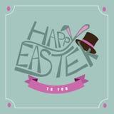 手拉的复活节印刷术贺卡设计 库存照片