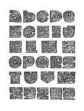 手拉的大信件从a到z,与标点符号 为创造性的字法完善,巨型,坚实,策划与稀薄的ni 免版税图库摄影