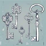 手拉的套各种各样的葡萄酒钥匙 向量例证
