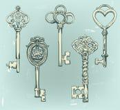 手拉的套各种各样的葡萄酒钥匙 皇族释放例证