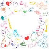 手拉的套情人节标志 五颜六色的心脏、礼物、圆环、气球和蜡烛儿童` s滑稽的乱画图画  库存图片