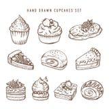 手拉的套杯形蛋糕和面包店产品 减速火箭的传染媒介葡萄酒例证 图库摄影