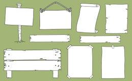 手拉的套标志和通知在背景 免版税库存照片