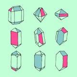 手拉的套水晶和几何石头 免版税库存图片