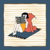 手拉的女孩和熊例证 免版税图库摄影