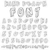 手拉的字母表。手写的字体 免版税图库摄影