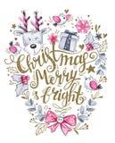 手拉的字法、水彩鹿和假日装饰贺卡  免版税库存照片