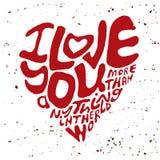 手拉的字法浪漫启发行情,比任何东西发短信给我爱你更多在世界上,写在心脏形状silhouett 库存照片