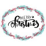 手拉的字法 与框架的现代刷子书法圣诞快乐贺卡 皇族释放例证