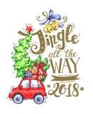 手拉的字法贺卡,有树的水彩汽车和假日装饰 库存照片