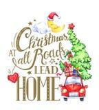 手拉的字法贺卡,有树的水彩汽车和假日装饰 库存图片