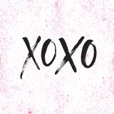 手拉的字法xoxo 免版税库存照片