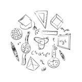 手拉的学校标志 球儿童图画,书,铅笔,统治者,烧瓶,指南针,在圈子安排的箭头 库存例证