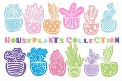 手拉的室内植物的汇集 库存例证