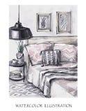 手拉的室内设计卡片 水彩现代例证 浪漫斯堪的纳维亚样式 图库摄影