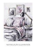 手拉的室内设计卡片 水彩现代例证 浪漫斯堪的纳维亚样式 免版税库存照片