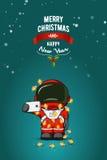 手拉的平的例证 太空服的动画片宇航员有圣诞灯诗歌选的  2007个看板卡招呼的新年好 免版税库存照片