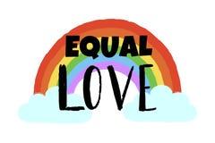 手拉的彩虹、云彩和文本相等的爱 激动人心的同性恋自豪日海报,同性恋象征 LGBT纠正概念 向量例证