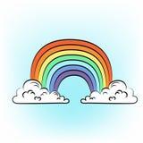 手拉的彩虹 向量例证