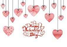 手拉的心脏和印刷愉快的情人节横幅、卡片和其他装饰的 免版税库存照片