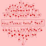 手拉的心脏字体 免版税库存照片