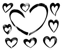 手拉的心脏由刷子冲程做成 库存照片