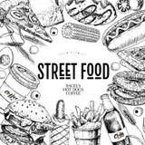 手拉的快餐横幅 街道食物面包店 汉堡,热狗,炸薯条,薄饼,咖啡,苏打,百吉卷,多福饼 库存照片
