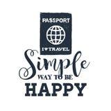 手拉的护照传染媒介例证 免版税库存图片
