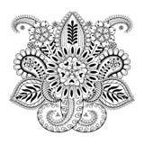 手拉的抽象花和佩兹利元素在印地安mehnd 库存照片