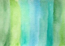 手拉的摘要水彩绿色背景 免版税库存照片