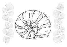 手拉的收藏 黑暗和白色传染媒介例证 免版税图库摄影