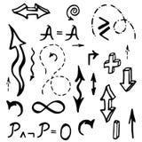 手拉的数学元素传染媒介例证 免版税库存照片