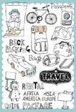 手拉的旅行设置了02 免版税图库摄影