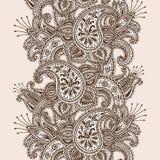 手拉的无刺指甲花Mehndi摘要坛场花和佩兹利乱画 免版税图库摄影