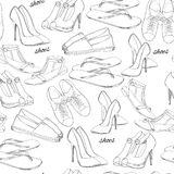 手拉的无缝的样式妇女鞋类的例证 偶然,古典和炫耀样式,女孩的侦探 鞋子 库存照片