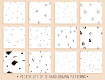 手拉的无缝的样式收藏 免版税图库摄影