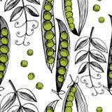 手拉的无缝的样式用豌豆 库存照片
