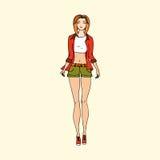 手拉的时尚女孩例证 库存图片