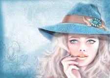 手拉的时尚女孩 美国嬉皮漂泊boho样式 免版税图库摄影